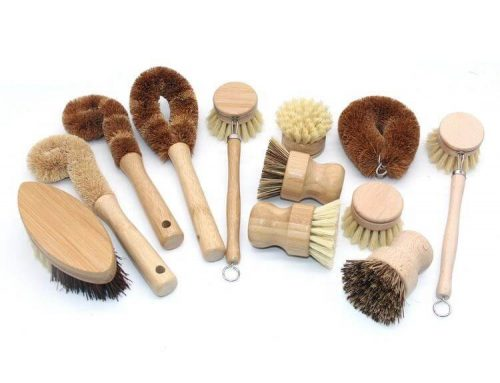 Kitchen Cleaning Brush with Bamboo Handle Set